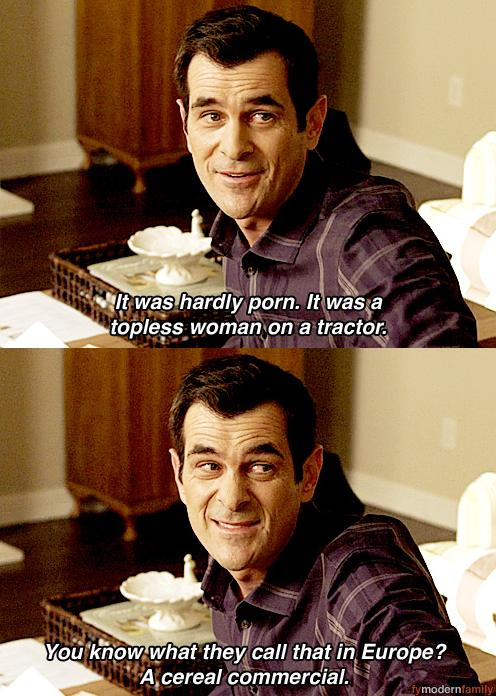 funny caption from modern family cereal commercial naked woman on tractor