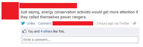 energy conservation activists should be called power rangers funny status