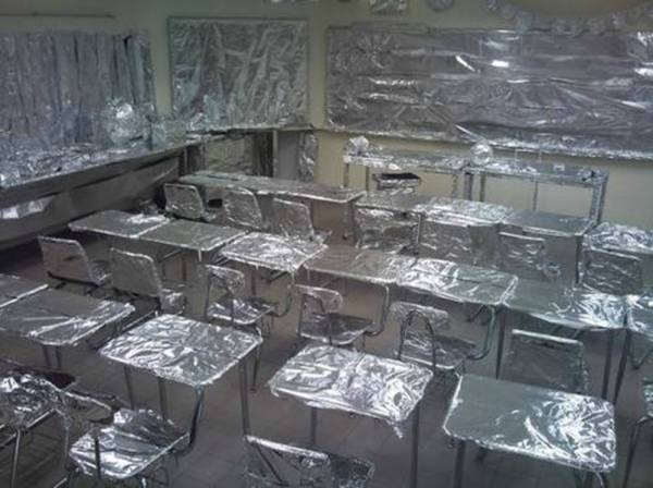 funny tin foil aluminum classroom prank on teacher funny pranks
