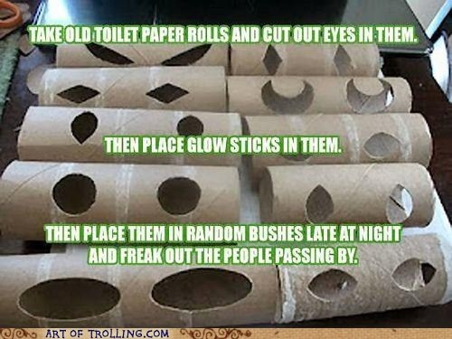 funny prank cut eye holes in toilet paper holders fill with glow sticks place in woods