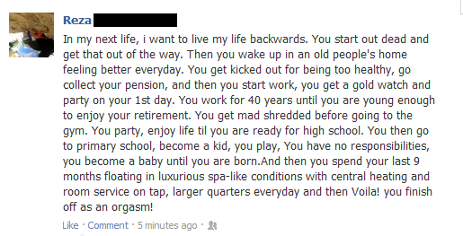 funny live my life backwards funny status