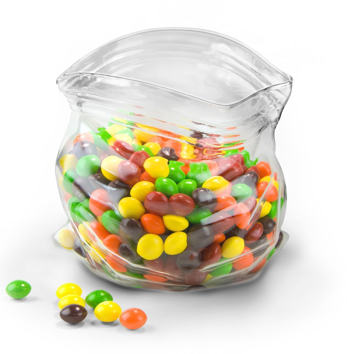 funny fred and friends glass candy dish that looks like ziploc bag