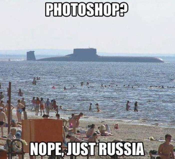 funny not photoshop just russis submarine at beach caption photo