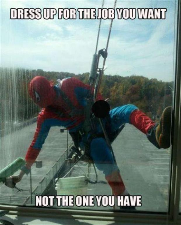 funny spiderman window washer dress for the job you want