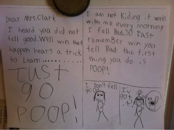 funny dear teacher if you don't feel well just go poop funny kid child notes