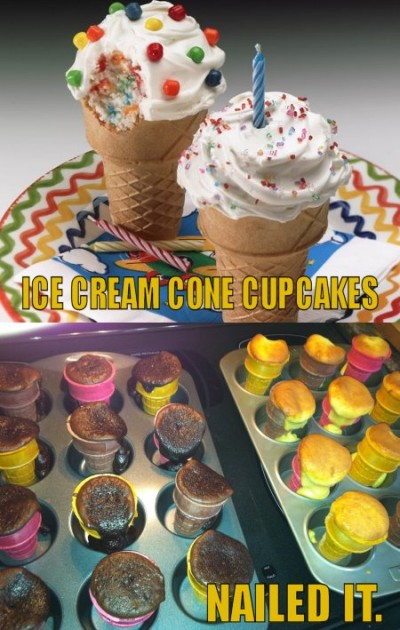 funny ice cream cone cupcakes - nailed it