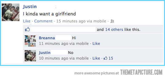 funny i want a girlfriend hi no facebook status