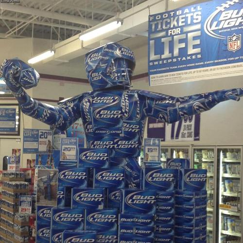 awesome budlight display boxes look like football player funny picture photo