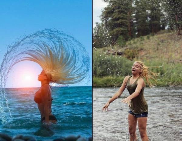 funny blond flipping hair in water nailed it funny nailed it pictures