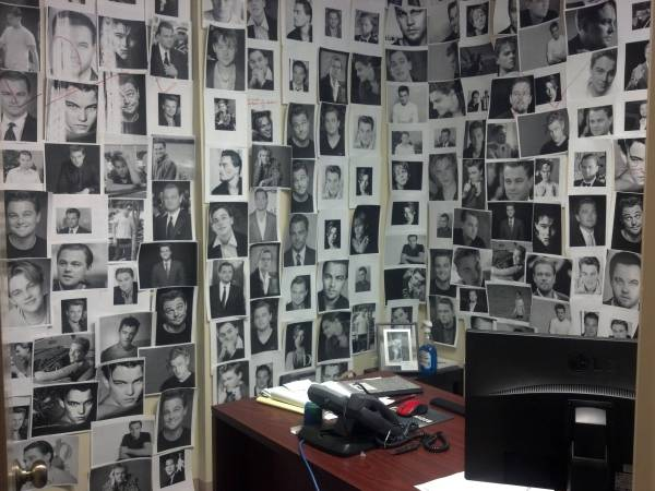 pictures of leonardo dicaprio all over office cubicle funny prank