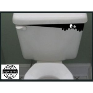 funny toilet bowl monster decal creepy guy peeking out of toilet bowl tank decal stickers