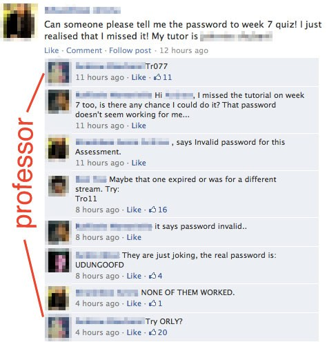 funny status asking for passwords friends give obvious wrong answers