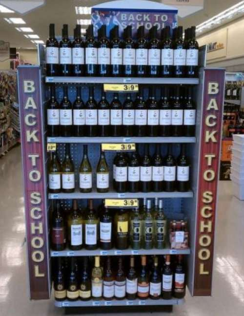 funny fail pic back to school wine display  funny win pic