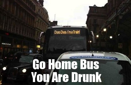 funny go home bus you are drunk caption pictures