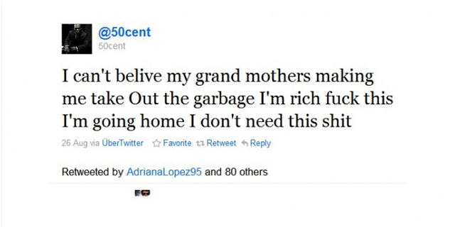 50cent can't believe my grandmother is making me take out the garbage i'm rich