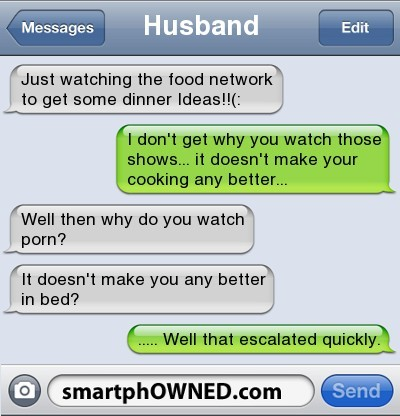 funny text message watching cooking show doesn't help cooking watching porn doesn't make you better in bed