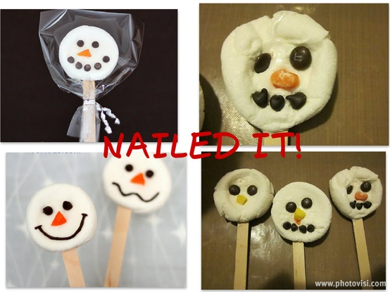 funny christmas snowman head lollipops nailed it