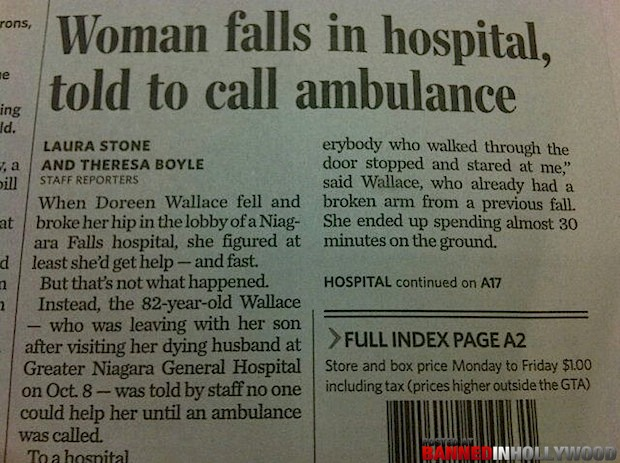 funny headline news story  woman falls in hospital told to call ambulance