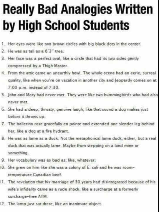 funny test answers really bad analogies from students