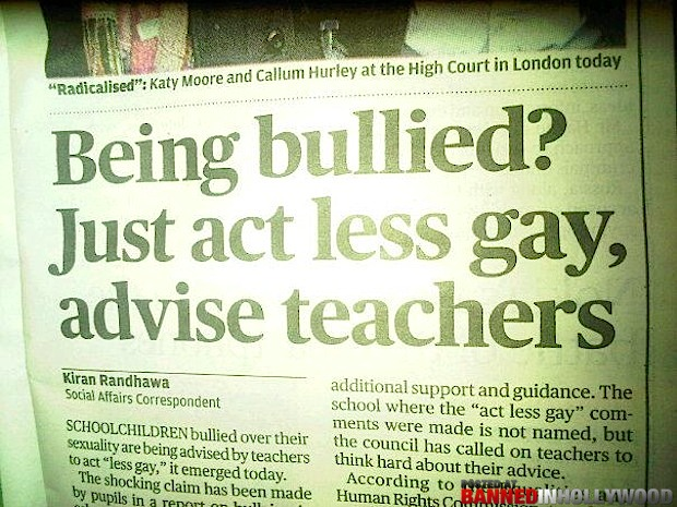 funny headline being bullied just act less gay advise teachers