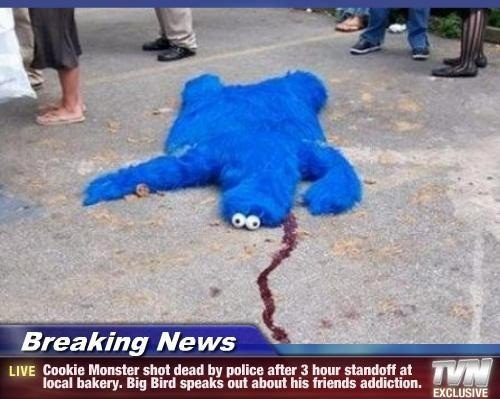 funny cookie monster shot dead breaking news big bird speaks out addiction