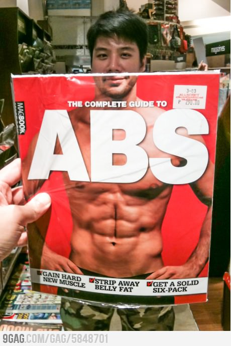 funny photo abs magazine over guys face