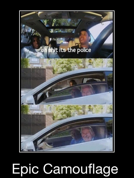 funny caption picture police coming camouflage old men on car window