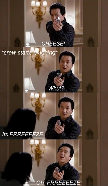 funny caption photos jackie chan filming say cheese crew laughs oh freeze