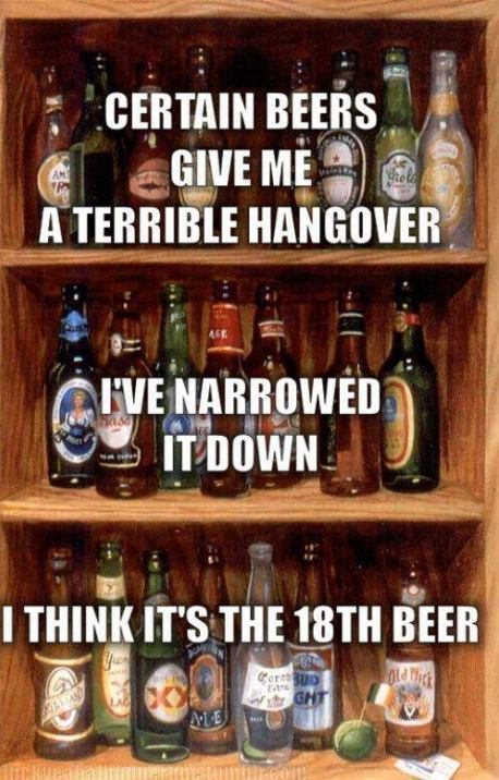 funny caption picture certain beers give me a hangover it think it's the 18th