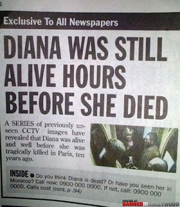 funny headlines diana was still alive hours before she was dead