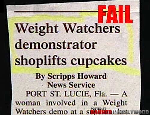 funny headline weight watchers demonstrator shoplifts cupcakes
