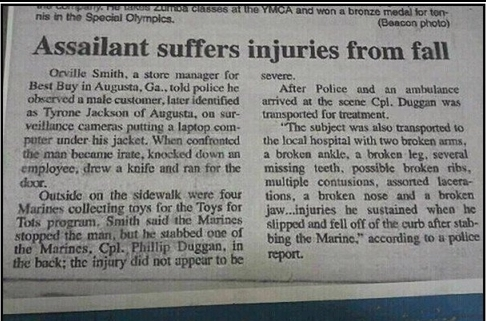 funny news story man gets up after messing with Marines