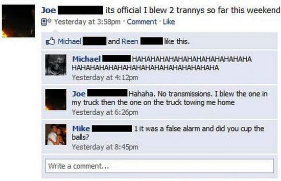 funny facebook status blew 2 trannys this week meant transmissions