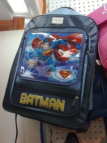funny photo backpack fail superman picture batman