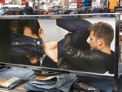 funny ad fail guy bent over other covering his face funny fail picture