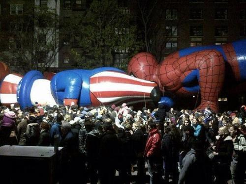 funny parade balloon fail spiderman up butt