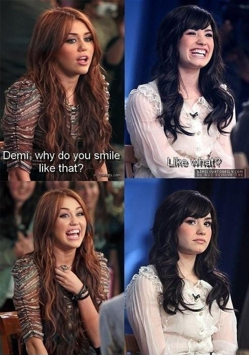 funny caption picture miley cyrus demi lovado why do you smile like this