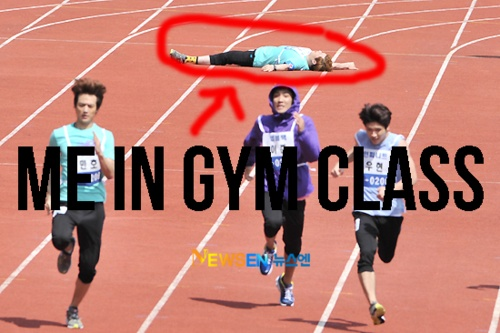 funny caption picture man collapses during race me in gym class