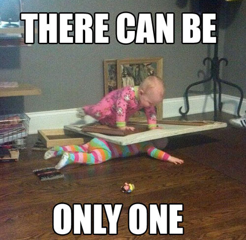 funny caption picture baby crushing doll under wood there can only be one