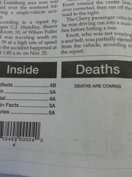funny headlines newspaper articles deaths are coming