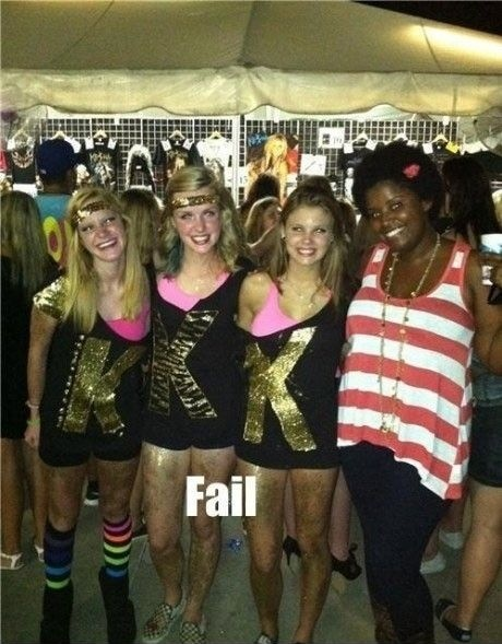 funny fail pic 3 white girls with kkk on their shirt next to black friend