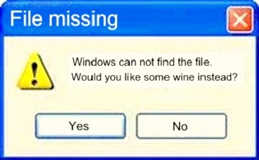 funny status windows can't find the file would you like some wine