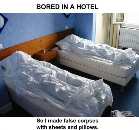funny prank making corpses in hotel room beds from sheets