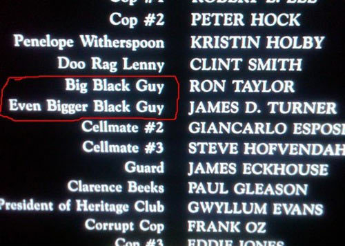 funny credits done right big black guy even bigger black guy