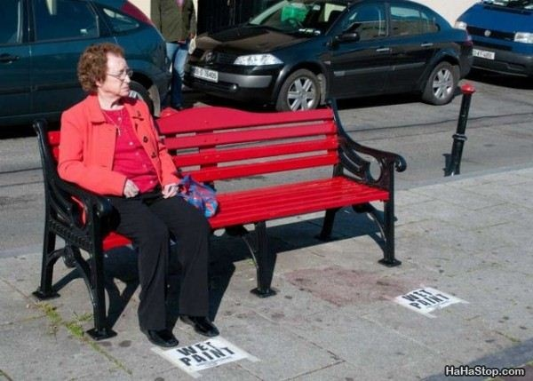 funny fail pic woman sits on wet paint red bench