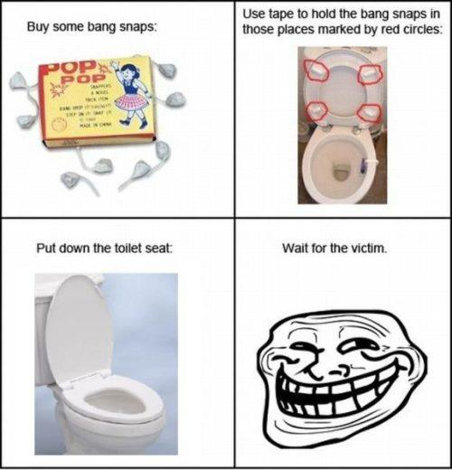 funny pranks tape snaps to toilet bowl seat