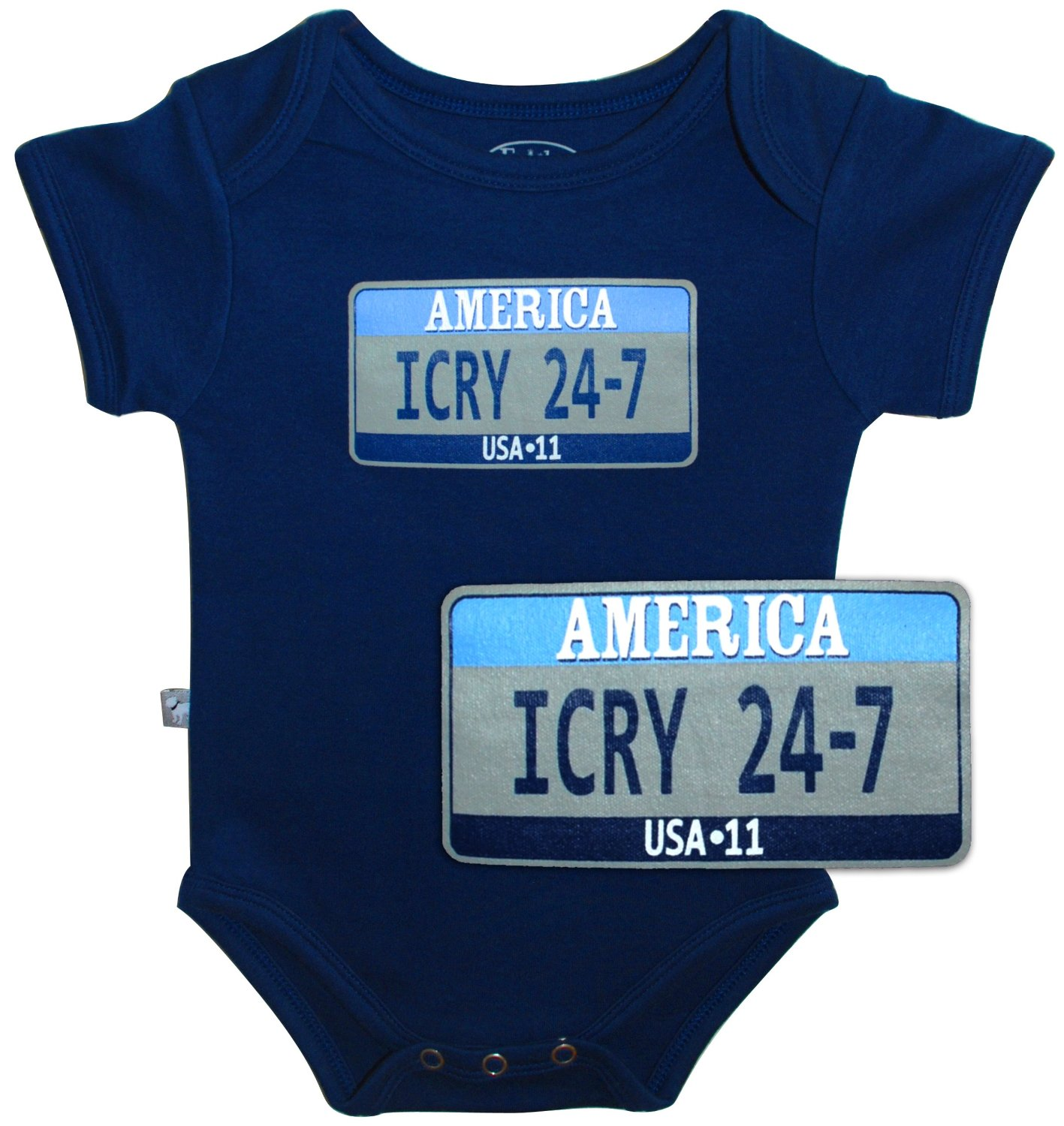 funny baby onesie icry 24-7 license plate onesie