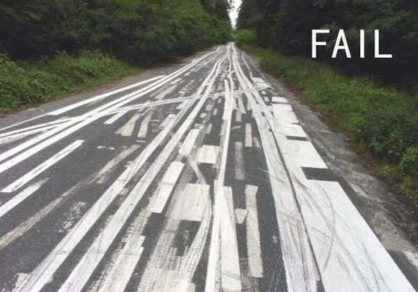 funny fail pic road lines painted crazy on road
