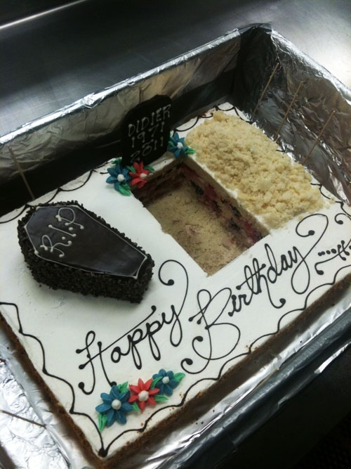 funny birthday cake with coffin and grave