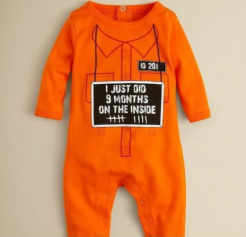 funny baby onesie footsie just did 9 months on the inside orange prison funny